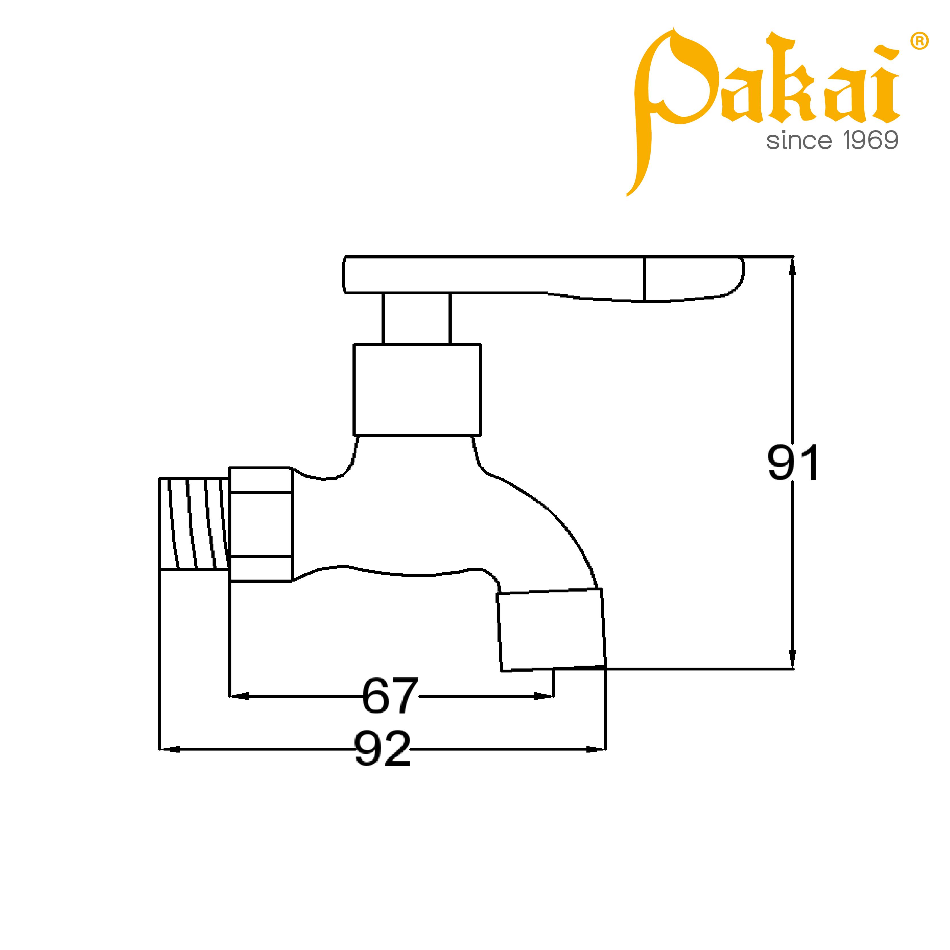 Pakai Wall Bib Tap - Short Curve Series CV06S