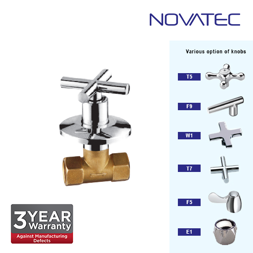 Novatec 3/4 Inch Concealed Full Turn Stopcock T7-1117B-FT