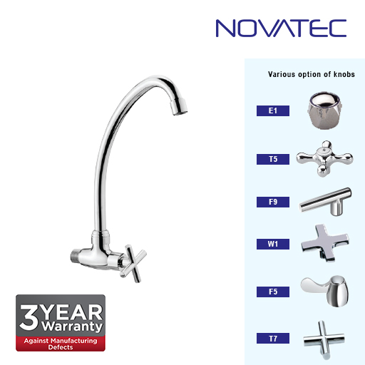 Novatec Chrome Plated Wall Sink Tap T7-1151