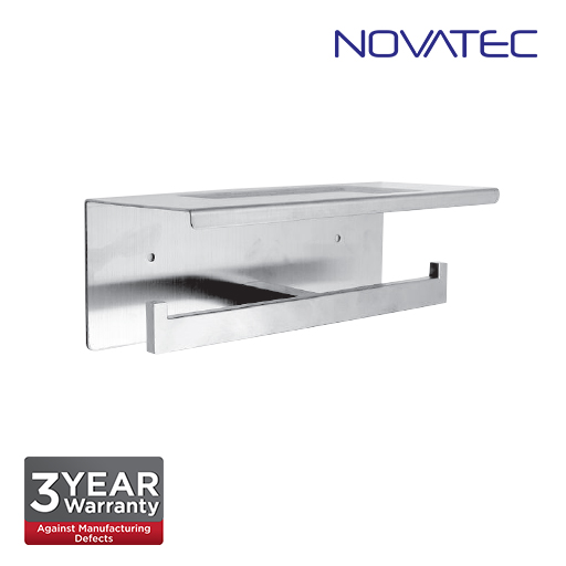 Novatec Stainless Steel 304 Surface Mounted Double Paper Holder With Shelf TPH-A42